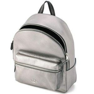 Coach Backpack Gunmetal Metallic Charlie Leather